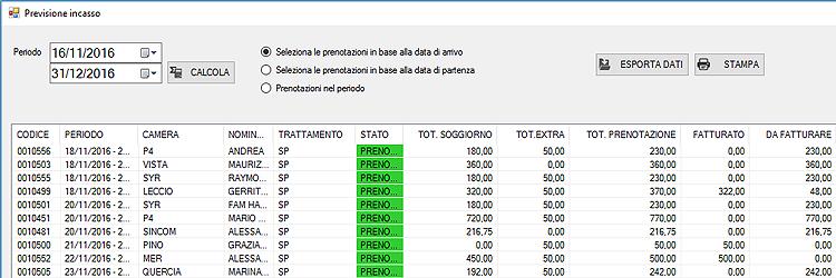 report statistiche software albergo